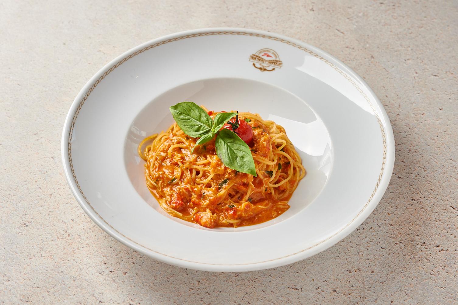 Спагеттини с камчатским крабом